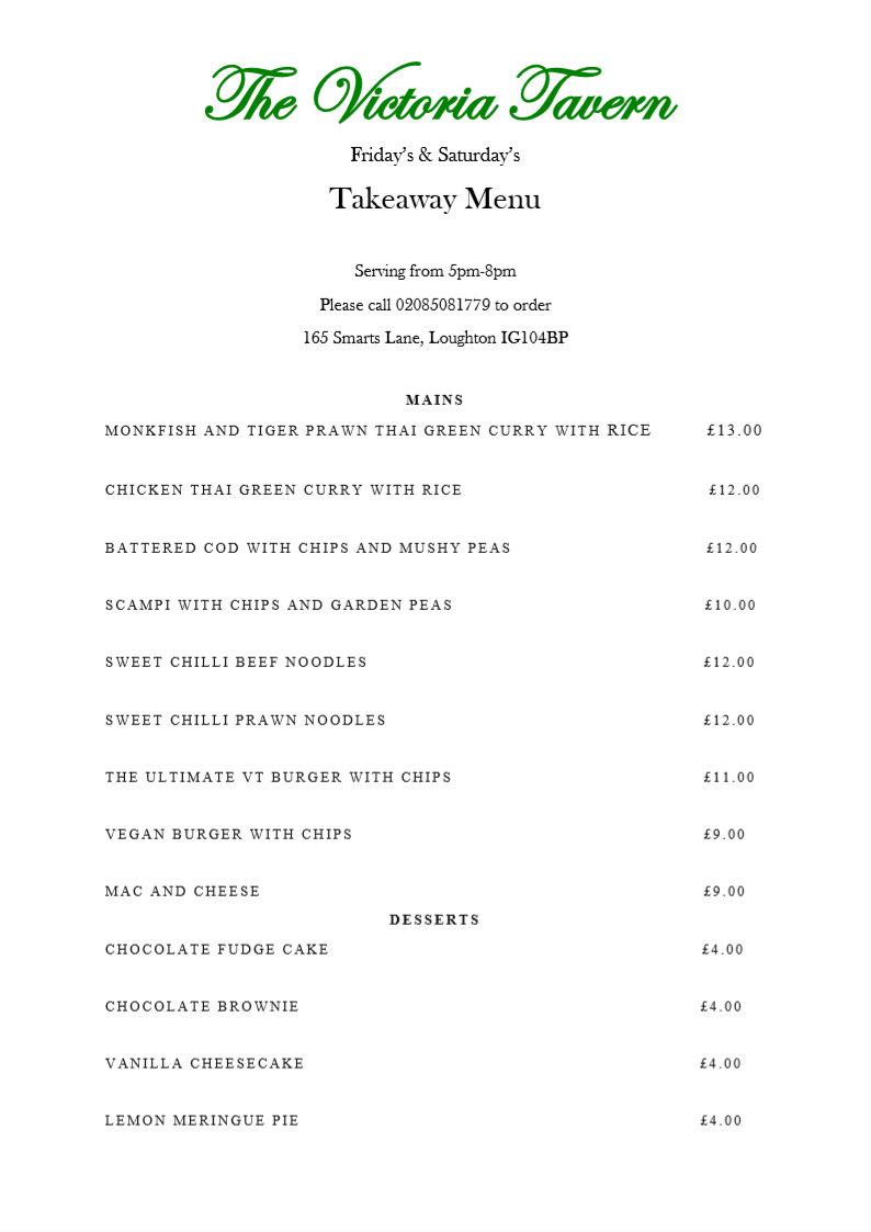 victoria tavern loughton menu 2020 friday saturday - Welcome to The Victoria Tavern