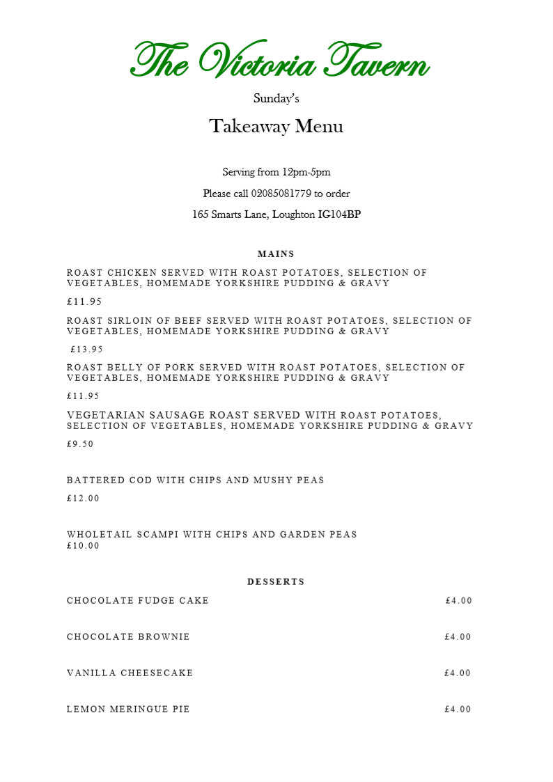 victoria tavern loughton menu 2020 sunday - Welcome to The Victoria Tavern